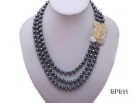 3 strand round black seashell pearl necklace with shell-flower clasp