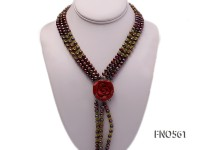 6-7mm mauve round freshwater pearl with olivine chips opera necklace with spong coral clasp