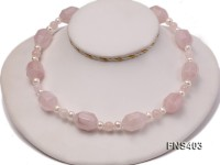 natural 6-7mm white round freshwater pearl with rose quartz necklace