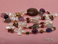 7-8mm white freshwater pearl with natural fluorite and white shell smoky quatrtz opera necklace