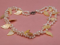 Two-strand 6-7mm White Side-drilled Freshwater Pearl Necklace with Yellow Seashell Leaves