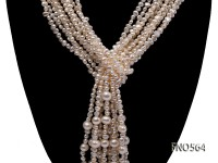 3-4mm natural white flat freshwater pearl with big pearl opera necklace