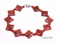 25x25mm red square and 6.5mm red round agate necklace