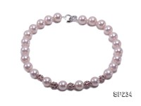 12mm light pink shell pearl necklace with shiny zircons