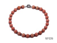 12mm coral-red shell necklace with shiny zircons