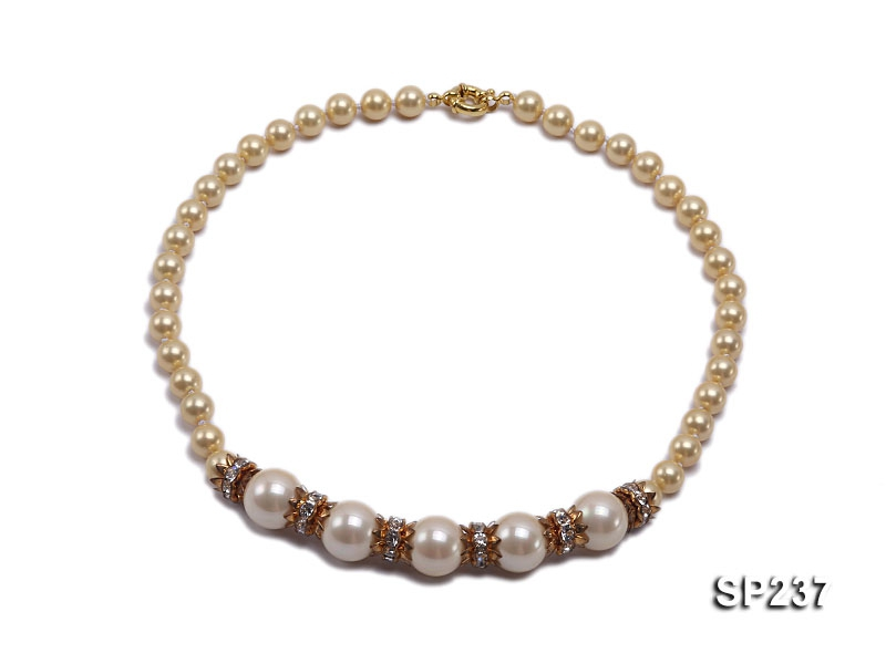 8-14mm champagne shell pearl necklace