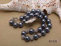 12mm grayish black seashell pearl necklace
