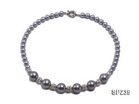 8-14mm Elegant Silver Seashell Pearl Necklace With Zircon Accessory