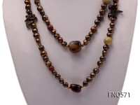 7-8mm dark coffee freshwater pearl with gold sand stone and smoky quartz necklace