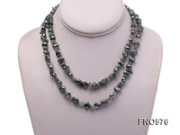 6-7mm black flat freshwater pearl with green gemstone chips opera necklace