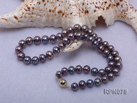 7-8mm black round freshwater pearl single strand necklace