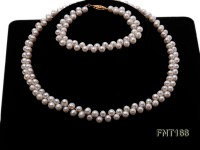 5-6mm White Freshwater Pearl Necklace and Bracelet Set