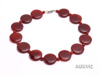 25mm red round and 6mm red round agate necklace