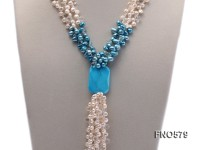 6-7mm white and blue freshwater pearl with turquoise necklace
