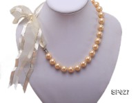 12mm round golden seashell pearl necklace with ribbon