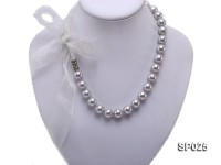 12mm silver grey round seashell pearl necklace with blue ribbon
