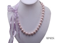 12mm Light Lavender Shell Pearl Necklace with Ribbon