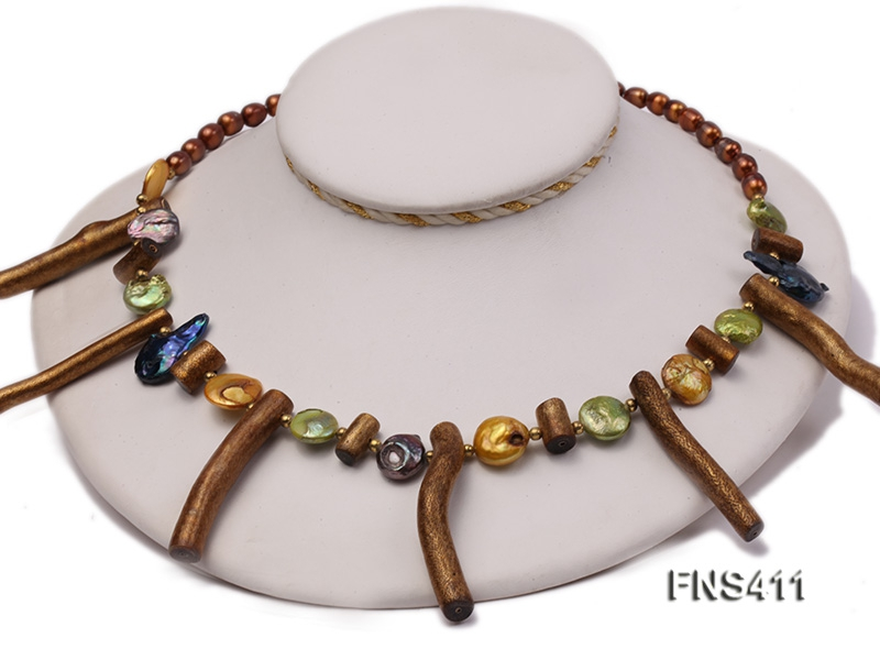 coffee freshwater pearl with coin pearl and gold coral sticks single necklace