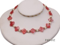 natural 6-7mm white round freshwater pearl with watermelon crystal necklace