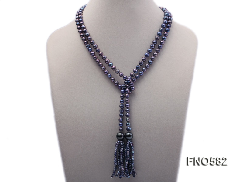 7-8mm black round freshwater pearl opera necklace