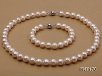 9-10mm White Freshwater Pearl Necklace and Bracelet Set