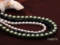 Three-strand White Freshwater Pearl, Green Seashell Pearl and Black Agate Beads Necklace