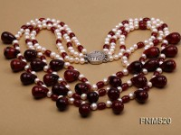 3 strand white freshwater pearl and red agate necklace