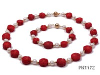 6-7mm White Freshwater Pearl & Red Coral Flowers Necklace and Bracelet Set