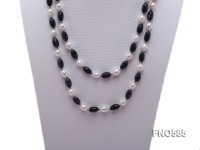 7*8mm natural white rice freshwater pearl with blue sandstone necklace