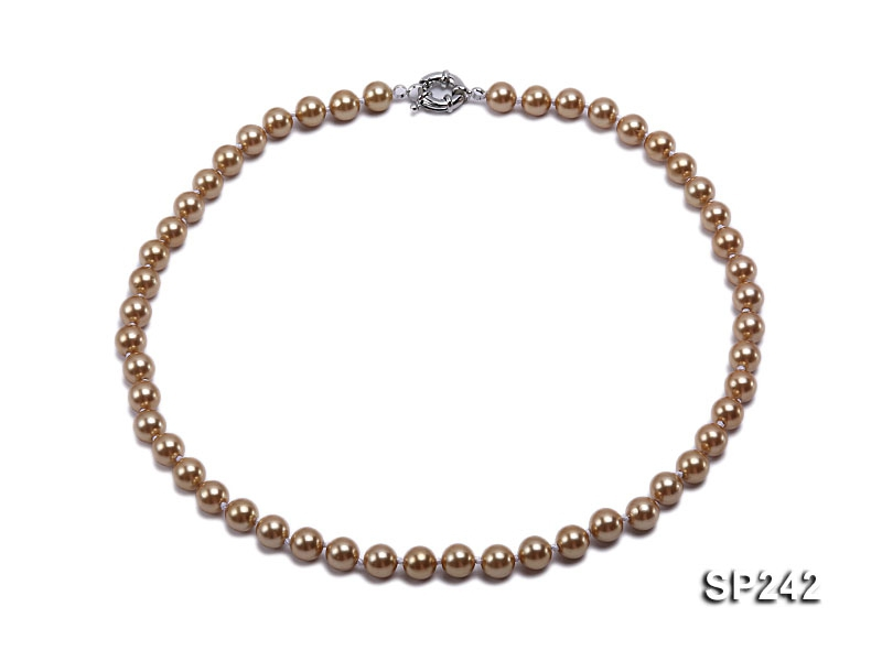 8mm light coffee round seashell pearl necklace