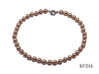 10mm light coffee round seashell pearl necklace