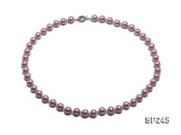 10mm light lavender round seashell pearl necklace