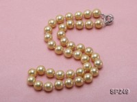 10mm yellow round seashell pearl necklace