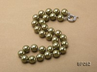 12mm green round seashell pearl necklace