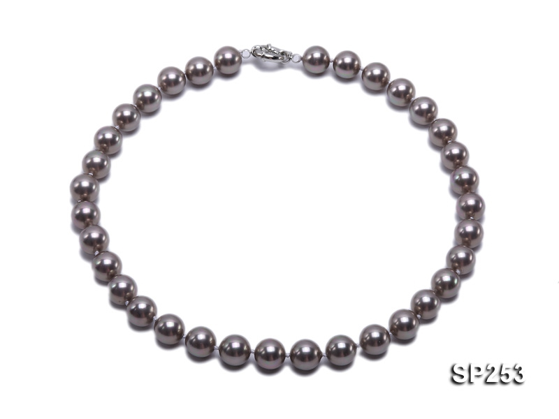 Elegant 12mm grey round seashell pearl necklace