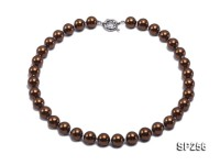 12mm dark coffee round seashell pearl necklace