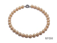 12mm golden seashell pearl necklace