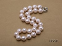 14mm pink round seashell pearl necklace