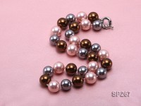 14mm pink grey and coffee round seashell pearl necklace