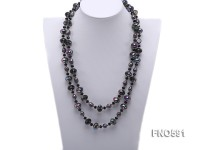 11-12mm black baroque freshwater pearl with multicolor crystal opera necklace