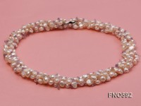 5-6mm natural white flat freshwater pearl with citrine chips opera necklace