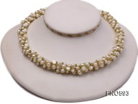 5-6mm natural white freshwater pearl with green chips opera necklace