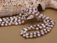 5-6mm natural white freshwater pearl with amethyst chips opera necklace