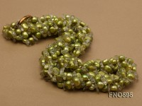 6-7mm green freshwater pearl with white chips opera necklace