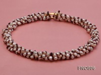 5-6mm natural white freshwater pearl with red garnet chips opera necklace
