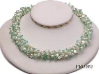 5-6mm natural white flat freshwater pearl with blue crystal chips opera necklace