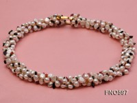 5-6mm natural white freshwater pearl with tourmaline chips opera necklace