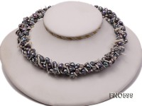 5-6mm black flat freshwater pearl with white shell chips opera necklace