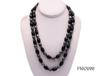10*12mm black baroque freshwater pearl with black carved agate opera necklace
