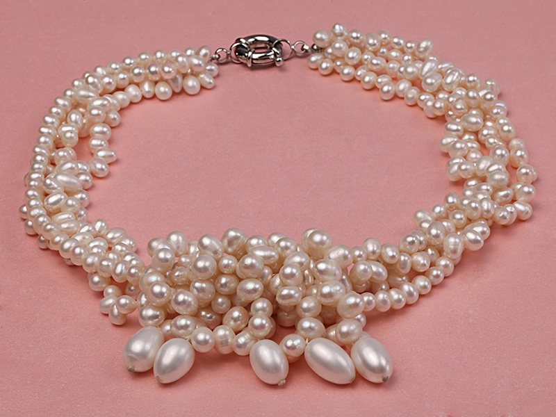 Four-strand White Cultured Freshwater Pearl Necklace